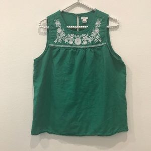 J. Crew Factory Embroidered Tank Top Size 8
